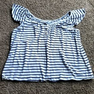 3/$15 old navy striped ruffle sleeve top